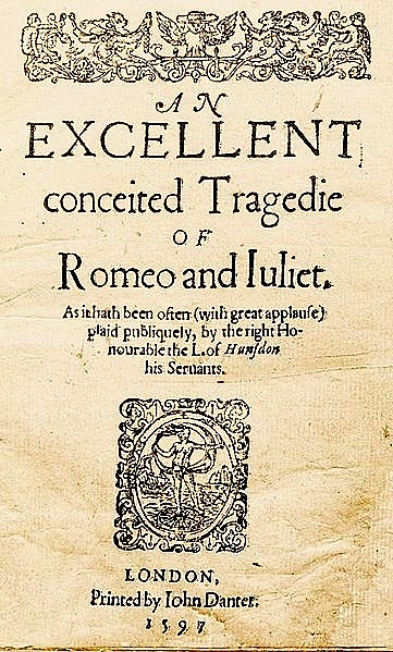 Romeo and Juliet: Title Page of the Quarto Edition, 1597 ...