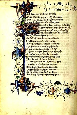 A Page From Chaucer's Translation of The Romaunt of the Rose