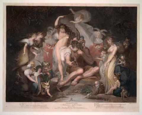 """A Midsummer Night's Dream, """"A Wood with Titania, Queen of the Fairies, Bottom, Fairies"""" Painting"""