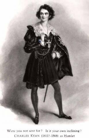 Hamlet, Charles Kean as Hamlet, Drury Lane Theatre, 1838