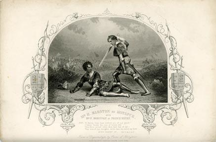 Henry IV, Part 1, Henry Marston (1804-83) as Hotspur defeated by Frederick Robinson (1832-1912) as Prince Hal