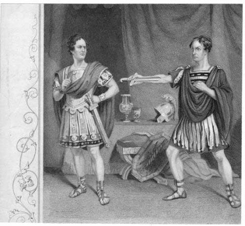 Julius Caesar, Edward Loomis Davenport (1815-1877) as Brutus, William Charles Macready (1793-1873) as Cassius