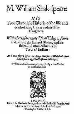 King Lear, The Title Page of the 1608 Quarto Edition