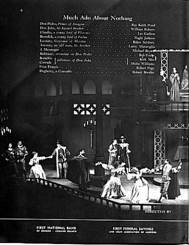 Much Ado About Nothing, Oregon Shakespeare Festival Program, Ashland, 1965