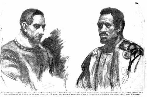 Othello (Theatre Guild): Jose Vincent Ferrer (b. 1909) as Iago and Paul Robeson (1898-1976) as Othello
