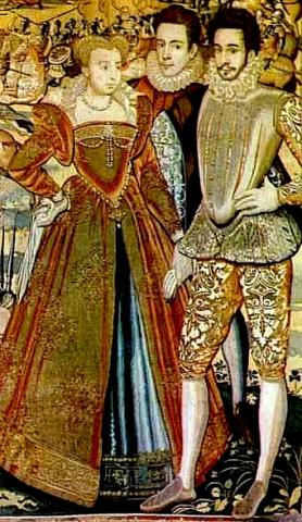 Tapestry: La Reine Margot (Marguerite de Valois) and Other Members of the Valois Court