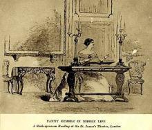 Fanny Kemble (1803-1893) reading Shakespeare at St. James Theatre, London