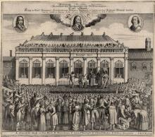 Contemporary German print depicting Charles I's beheading
