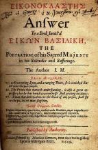 Milton's Eikonoklastes: a Pamphlet by Milton Attacking the Memory of Charles I