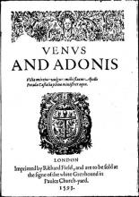 Titlepage of Shakespeare's Venus and Adonis, 1593