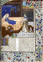 This version of Boccaccio's vision of Petrarch comes from Book 7 of Boccaccio De Casibus Virorum Illustrium, Paris: 1467