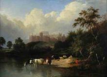 """River Landscape with Windsor Castle"" by Edward Williams (1782-1855)"