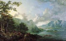 George Barrett, Sr.: View of Windermere Lake, Early Morning (1781)