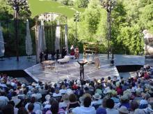 Audience view of the C. S. T.'s setting during Shaw's Arms and the Man.
