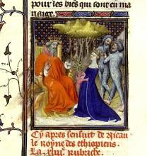 Boccaccio: Solomon and The Queen of Sheba With Her Ethiopes, De Mulieribus Claris (Anonymous Ms. Paris, XV. c.)