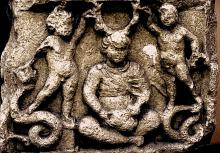 Cernunus with putti & serpents. Gallo-Roman: Stone. Vendoeuvres, Indres. France.
