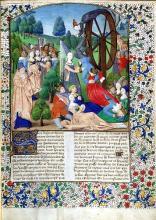 Fortune's Wheel illustrating Boccaccio's De Casibus Virorum Illustrium (On the Fall of Great Men)