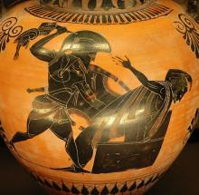 Hamlet (II.ii.445-97): Priam, King of Troy, is killed by Neoptolemus (aka. Pyrrhus), son of Achilles.