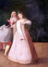 Isabella Andreini as principal actress in a commedia dell'arte scene.