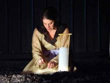 Lady Macbeth (Mia Barron) at the Bruns Theatre: California Shakespeare Theatre, 2002.