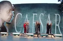 Set for the opening scene of Julius Caesar at the Bruns Theatre, 2003.