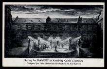 Setting for Hamlet in Kronborg Castle Courtyard designed by Nat Karson,1947.