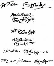 Six Surviving Signatures of Shakespeare