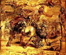 Troilus and Cressida (V.viii): Peter Paul Rubens (1577-1632): Achilles kills Hector