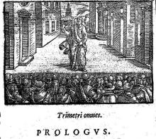 "Woodcut from the Prologue of Terence's comedy ""Heauton Timorumenos"" (""The Self-Tormentor""), published 1580"
